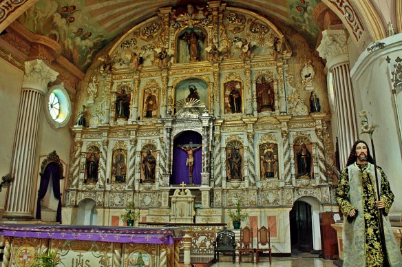 The ornate retablos framing the main altar at Betis Church. (Photo Credit: Kathy Robles)