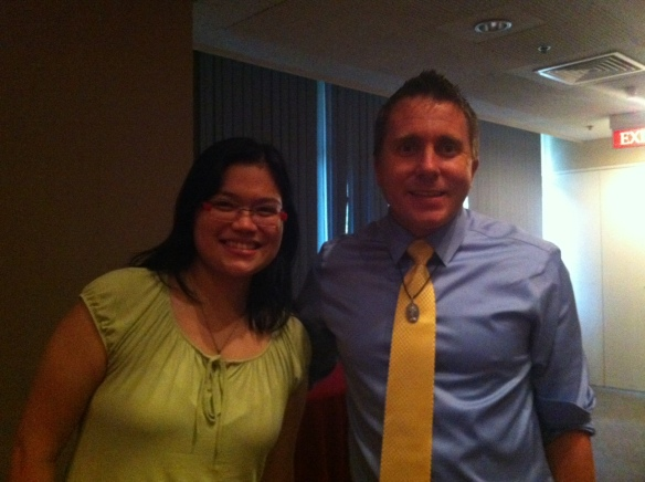 Me with Jason Evert right before he was whisked away to his next speaking gig.